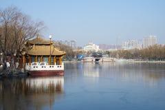 Chino de Asia, parque de Pekín, lago Longtan, paisaje del invierno Fotos de archivo
