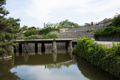 Chino de Asia, Pekín, China Minzu Yuan, arquitectura de paisaje, puente de piedra Foto de archivo