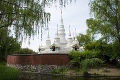 Chino de Asia, Pekín, China Minzu Yuan, paisaje arquitectónico, la pagoda blanca Foto de archivo
