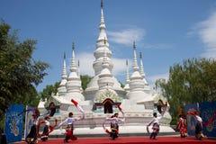 Chino de Asia, Pekín, China Minzu Yuan, paisaje arquitectónico, la pagoda blanca Imágenes de archivo libres de regalías
