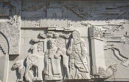 Chino de Asia, Pekín, Ming Dynasty Tombs, museo de Dingling, oficial de Œmilitary del ¼ del officialï de Œcivil del ¼ del reliefs Foto de archivo libre de regalías