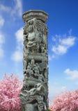 Chino de talla de piedra del polo de la escultura del dragón Imagen de archivo