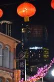 Chino Ney Year Decorations en Singapur foto de archivo libre de regalías