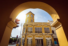 Chino-Portuguese clock tower in phuket old town, Thailand Royalty Free Stock Photos