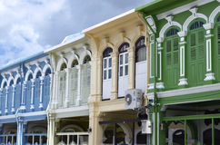 Chino Portuguese style buildings in Phuket Town Stock Images