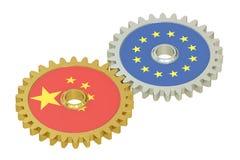 Chino y banderas de la UE en engranajes, representación 3D Fotografía de archivo
