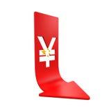 Chino Yuan Symbol y flecha roja Imagenes de archivo