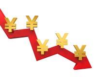 Chino Yuan Symbol y flecha roja Imágenes de archivo libres de regalías
