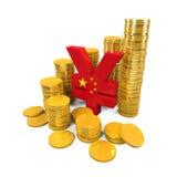 Chino Yuan Symbol y monedas de oro Imagenes de archivo