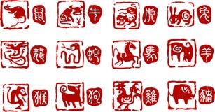 Chinois 12 ans d'animaux Image libre de droits
