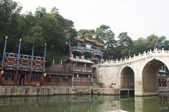 Chinois asiatique, Pékin, bâtiment historique, le palais d'été, rue de Suzhou Photo stock
