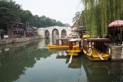 Chinois asiatique, Pékin, bâtiment historique, le palais d'été, rue de Suzhou Image stock