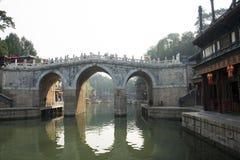 Chinois asiatique, Pékin, le palais d'été, le long pont de trois trous Images libres de droits