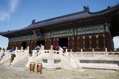 Chinois asiatique, Pékin, parc de Tiantan, bâtiments historiques Photos libres de droits