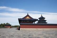 Chinois asiatique, Pékin, parc de Tiantan, bâtiments historiques Images libres de droits