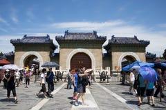 Chinois asiatique, Pékin, parc de Tiantan, l'autel circulaire de monticule, bâtiments historiques Image libre de droits