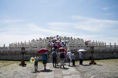 Chinois asiatique, Pékin, parc de Tiantan, l'autel circulaire de monticule, bâtiments historiques Images stock