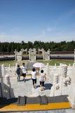 Chinois asiatique, Pékin, parc de Tiantan, l'autel circulaire de monticule, bâtiments historiques Photographie stock