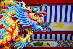 Chinois concret coloré Dragon Statue Images libres de droits