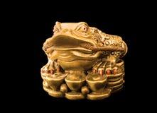 Chinois Feng Shui Frog avec des pièces de monnaie, symbole pour Photographie stock