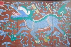 Chinois Lion Wooden Screen images libres de droits