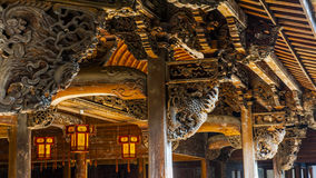 Chinois Qing Dynasty Wood Carving Architecture Image libre de droits