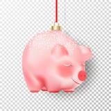 Chinois symbole de 2019 bonnes années Porc réaliste de rose de babiole de décor de Noël avec la neige blanche et chapeau d'or sur illustration stock