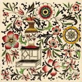 Chinoiserie Tile. An antique tile in the Oriental taste with typical decoration Stock Photos