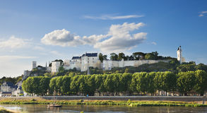 Chinon chateau, France. Panoramic view of the castle over Vienne river Royalty Free Stock Photo