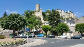Chinon France. Medieval fortress of Chinon on hill above town Stock Photo