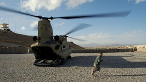 Chinook. Preparing for departure, Logar Province, Afghanistan, February 2009 Royalty Free Stock Photography
