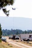 Chinook boju śmigłowcowi ogienie obrazy stock