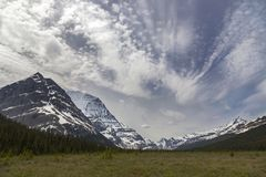 Chinook Clouds Sky over Mount Robson in Rocky Mountains royalty free stock photo