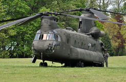 Chinook Helicopter. A Chinook Helicopter on standby during the Vigilant Guard exercise in Eugene Oregon in May 2012 stock photo