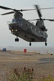 Chinook Helicopter Dock Landing. A RAF Chinook, serial AN lands at Avonmouth docks near Bristol, England royalty free stock photography