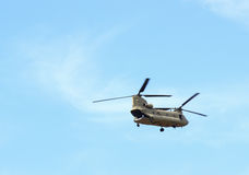 Chinook Helicopter. A chinook military helicopter in flight royalty free stock photo