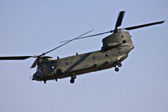 Chinook Helicopter. Performs at the Royal International Air Tattoo 2014 Royalty Free Stock Image