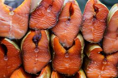 Chinook lax, rökt röd fisk, skaldjur Royaltyfri Bild