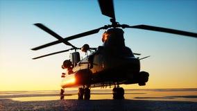 Chinook militar del helicóptero, puesta del sol del wonderfull representación 3d ilustración del vector