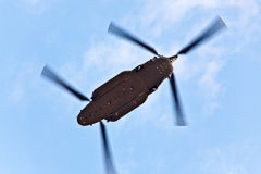 Chinook military helicopter. A CH47 Chinook military helicopter flying stock photo