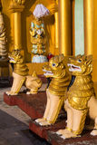 Chinthe statues at the Shwedagon pagoda Royalty Free Stock Photography
