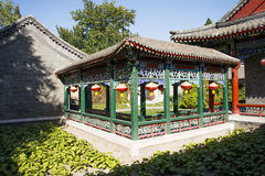 Chiny, Azja, Pekin Uroczysty widoku ogród, antykwarscy budynki Obrazy Stock
