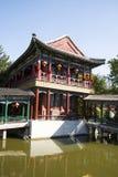 Chiny, Azja, Pekin Uroczysty widoku ogród, antykwarscy budynki Zdjęcie Stock