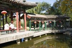 Chiny, Azja, Pekin Uroczysty widoku ogród, antykwarscy budynki Fotografia Royalty Free