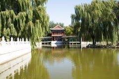 Chiny, Azja, Pekin Uroczysty widoku ogród, antykwarscy budynki Fotografia Stock
