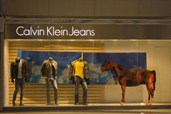 Chiny: Calvin Klein cajgi Obrazy Stock