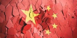 Chiny flaga na krakingowym ściennym tle ilustracja 3 d royalty ilustracja
