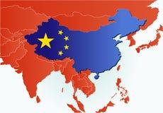 chiny flagi mapa kraju Zdjęcie Royalty Free