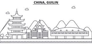 Chiny, Gulin architektury linii linii horyzontu ilustracja Liniowy wektorowy pejzaż miejski z sławnymi punktami zwrotnymi, miasto ilustracja wektor