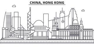 Chiny, Hong Kong 1 architektury linii horyzontu kreskowa ilustracja Liniowy wektorowy pejzaż miejski z sławnymi punktami zwrotnym royalty ilustracja